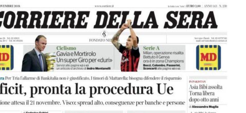 """Come il """"Corriere"""" ha raccontato la manovra e la trattativa con l'Europa"""